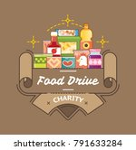 food drive canned food charity... | Shutterstock .eps vector #791633284