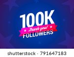 100k followers card. vector... | Shutterstock .eps vector #791647183