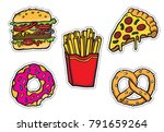 five cartoon junk food icons.... | Shutterstock .eps vector #791659264