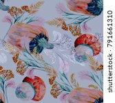 watercolor pumpkin and grass...   Shutterstock . vector #791661310