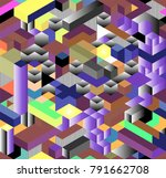 seamless 3d isometric cub... | Shutterstock .eps vector #791662708