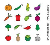 colorful vegetables icons in... | Shutterstock .eps vector #791663599