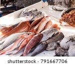 fish seafood on bazaar   Shutterstock . vector #791667706