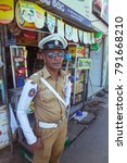 Small photo of Ambalangoda, Sri Lanka, January 2016. Traffic Police in Sri Lanka