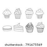 doodle cupcakes set | Shutterstock .eps vector #791675569