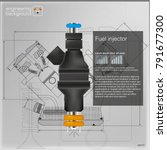 fuel injector. vector... | Shutterstock .eps vector #791677300