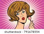 pop art woman and lollipop....   Shutterstock .eps vector #791678554