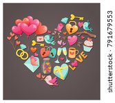 cute valentine's day greeting... | Shutterstock .eps vector #791679553