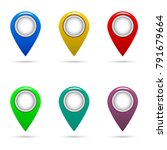 set of map pin icons with... | Shutterstock .eps vector #791679664