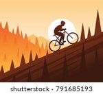 mountain bike climbing scene | Shutterstock .eps vector #791685193