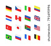 inclined flags set | Shutterstock .eps vector #791695996