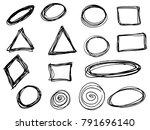 doodle vector circles  ellipses ... | Shutterstock .eps vector #791696140
