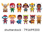 cute kawaii set superhero... | Shutterstock .eps vector #791699203