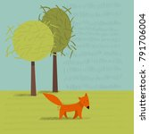 cute fox. vector illustration. | Shutterstock .eps vector #791706004