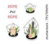 home  sweet  home. vector set... | Shutterstock .eps vector #791709694