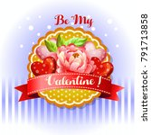 be my valentine card camellia | Shutterstock .eps vector #791713858