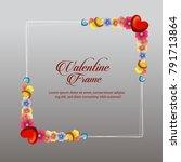 blossom valentine frame card | Shutterstock .eps vector #791713864