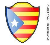 flag of catalonia on a heraldry ... | Shutterstock .eps vector #791715040
