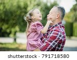 grandfather with granddaughter. ... | Shutterstock . vector #791718580