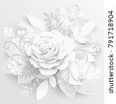 paper flower. white roses cut... | Shutterstock .eps vector #791718904