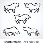 bull collection set. vector | Shutterstock .eps vector #791731840