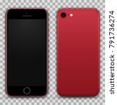 realistic red black smartphone... | Shutterstock .eps vector #791736274