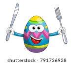 decorated mascot easter egg... | Shutterstock .eps vector #791736928