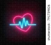 glowing neon medicine concept... | Shutterstock .eps vector #791739826