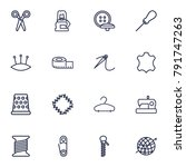set of 16 sewing outline icons... | Shutterstock .eps vector #791747263