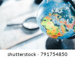 map of roads with a magnifier... | Shutterstock . vector #791754850