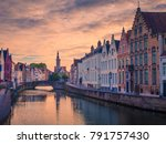 brugge evening cityscape. old... | Shutterstock . vector #791757430
