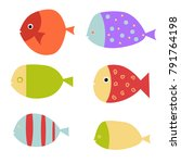 set of vector flat fishes. fish ... | Shutterstock .eps vector #791764198