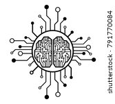 neon brain.cpu. circuit board... | Shutterstock .eps vector #791770084