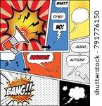 retro comic  speech bubbles set ... | Shutterstock .eps vector #791776150