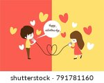 happy valentine days. male talk ... | Shutterstock .eps vector #791781160