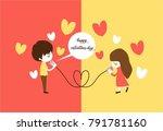 happy valentine days. male talk ...   Shutterstock .eps vector #791781160