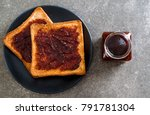 wholewheat bread toast with... | Shutterstock . vector #791781304