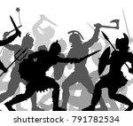 editable vector silhouettes of... | Shutterstock .eps vector #791782534