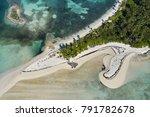 aerial view of tahiti beach on... | Shutterstock . vector #791782678