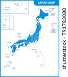 the detailed map of the japan... | Shutterstock .eps vector #791783080