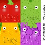 set of fruits and vegetables...   Shutterstock . vector #791786029