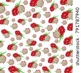 dragon fruit pattern on white... | Shutterstock .eps vector #791787940