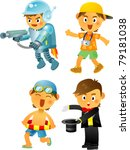 cute boy with different costume | Shutterstock .eps vector #79181038