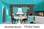 guy and girl eating in the... | Shutterstock .eps vector #791817664