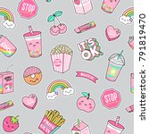 cute pastel foods patches... | Shutterstock .eps vector #791819470