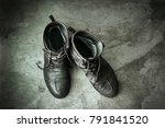 leather boots empty on the old... | Shutterstock . vector #791841520