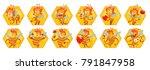 vector set of honeycomb frames... | Shutterstock .eps vector #791847958