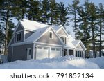 winter house in front of trees... | Shutterstock . vector #791852134