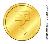rupee currency gold coin.... | Shutterstock .eps vector #791852614