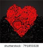valentine heart. knitted... | Shutterstock .eps vector #791853328